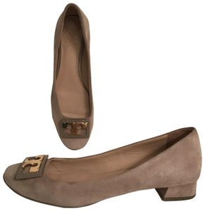 Tory Burch Suede Ballet Pump Ballerina Leather Gray gold Flats