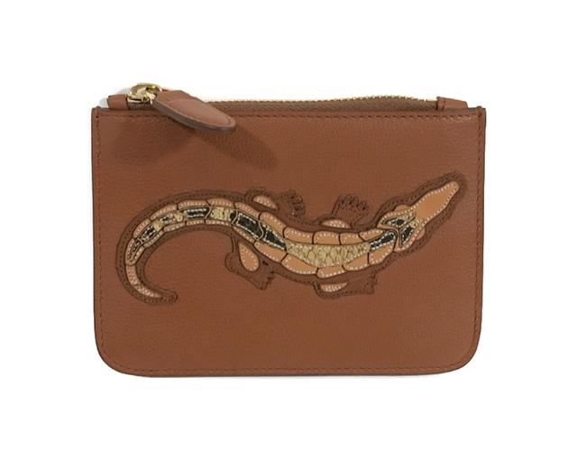Item - Brown Made In Italy Crocodile Calf Mini Zip Pouch Wallet