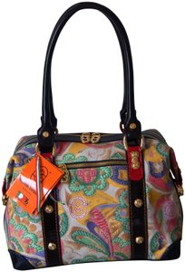 Marino Orlandi Leather Floral Pattern Embellished Satchel in Multi
