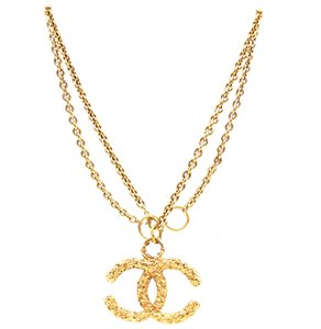 Chanel RARE oversize CC XL Textured gold necklace aftermarket chain