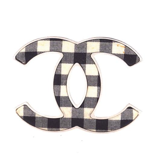 Chanel Rare CC Ginham silver Brooch pin charm Image 0