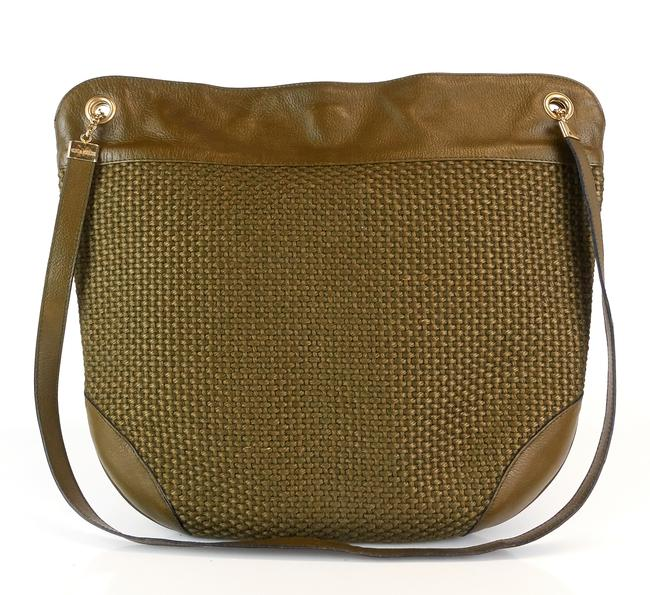 Item - Woven Olive Green Fabric and Leather Hobo Bag
