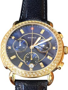 Michele Sidney Diamond Gold, Navy Diamond Dial Mother of Pearl Dial