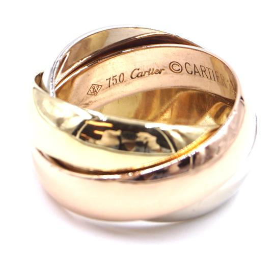 Cartier Trinity rose pink Yellow white gold ring size 51 4.25 LG Extra wide Image 4