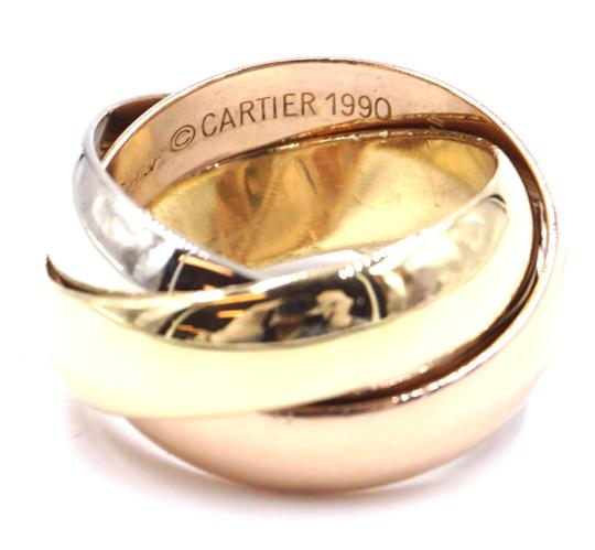 Cartier Trinity rose pink Yellow white gold ring size 51 4.25 LG Extra wide Image 5