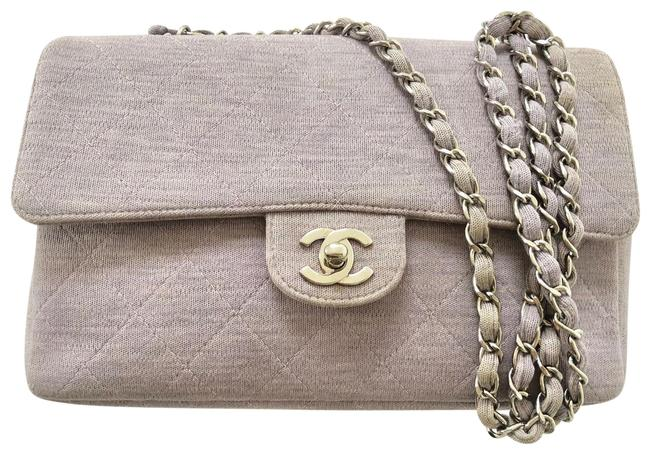 Item - Classic Rare Single Flap Quilted Silver Chain Lavender Purple Cotton Cross Body Bag