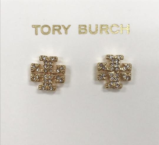 Tory Burch Gold Stud Pave Crystal Logo #5740475 Earrings Image 1