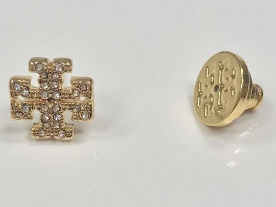Tory Burch Gold Stud Pave Crystal Logo #5740475 Earrings Image 3