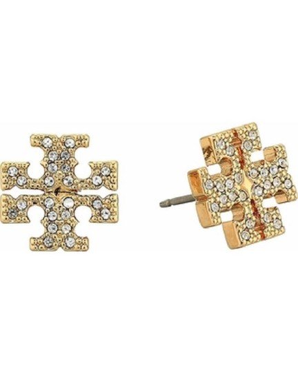 Tory Burch Gold Stud Pave Crystal Logo #5740475 Earrings Image 4