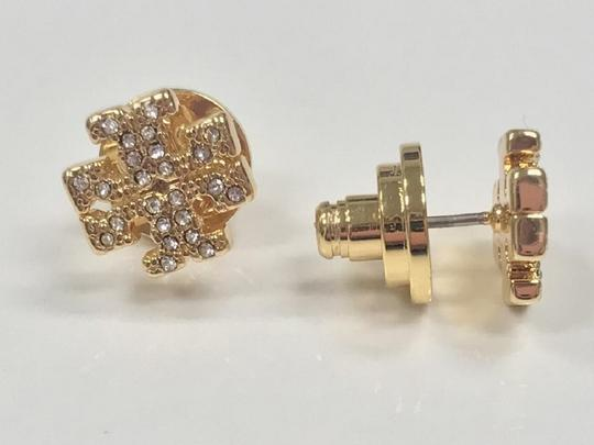 Tory Burch Gold Stud Pave Crystal Logo #5740475 Earrings Image 6