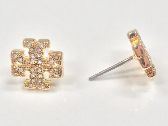 Tory Burch Gold Stud Pave Crystal Logo #5740475 Earrings Image 8