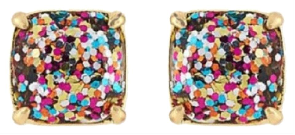 ffb70a4743ca0 Kate Spade Multicolor 12k Gold Plated Glitter Square Studs New Earrings
