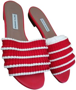 Tabitha Simmons Red white Mules