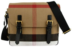 Burberry Unisex Baildon House-check Camel Messenger Bag