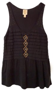 Ric Rac Top black with copper color beads.