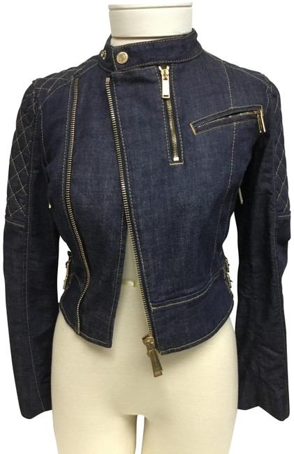Item - Navy With Diamond Quilted Sleeves Jacket Size 2 (XS)