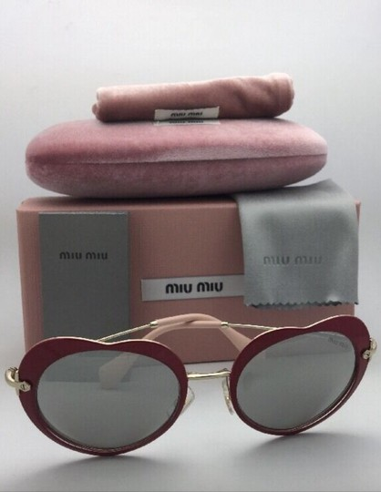 Miu Miu MIU MIU Sunglasses SMU 54R USS-2B0 Red-Gold Heart Shape+Silver Mirror Image 5