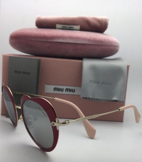 Miu Miu MIU MIU Sunglasses SMU 54R USS-2B0 Red-Gold Heart Shape+Silver Mirror Image 8