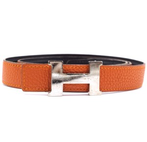 Hermès 24Mm Constance silver H Belt Size 75 Reversible leather Belt