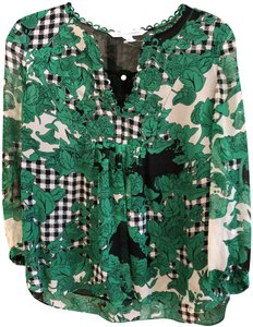 Diane von Furstenberg Camden Silk Style#s217601f15 Floral Checkered Top Green, Black, White