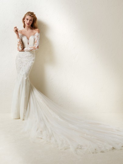 Pronovias Off White Tulle and Lace Drinea Formal Wedding Dress Size 8 (M) Image 7
