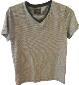 Abercrombie & Fitch V-neck Striped T Shirt Green /white