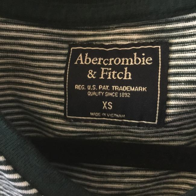 Abercrombie & Fitch V-neck Striped T Shirt Green /white Image 1