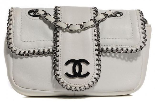 Item - 2.55 Reissue Madison Classic Mini Flap Quilted Chain Around Cc Logo Link Cross White Silver Gunmetal Lambskin Leather Shoulder Bag