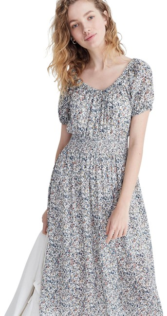 Preload https://img-static.tradesy.com/item/25778915/madewell-blue-smock-waist-peasant-midi-in-blossoming-vines-floral-mid-length-casual-maxi-dress-size-0-1-650-650.jpg