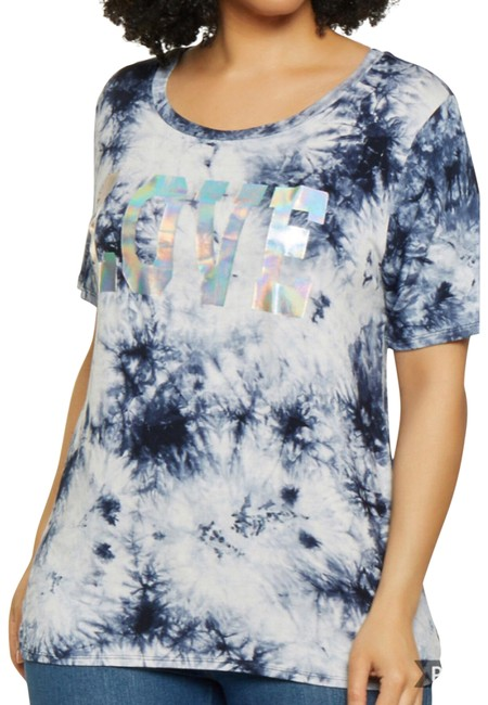 Preload https://img-static.tradesy.com/item/25778953/navy-and-white-dyed-tee-shirt-size-26-plus-3x-0-1-650-650.jpg