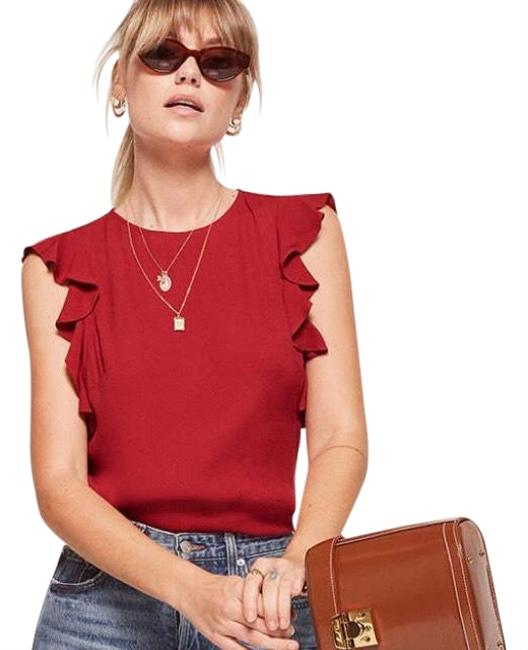 Preload https://img-static.tradesy.com/item/25778992/reformation-red-magpie-blouse-size-4-s-0-1-650-650.jpg
