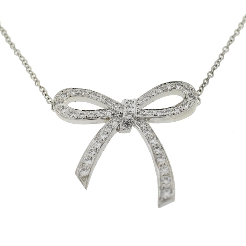 db71967c01b21 Tiffany & Co. Silver Diamond Bow Platinum Pendant Necklace 12% off retail