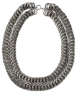 vintage Massive Etched Double Strand Chain Necklace