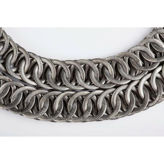 vintage Massive Etched Double Strand Chain Necklace Image 2