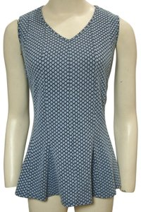 H by Halson Fit And Flare Peplum Sleeveless Retro Top Blue