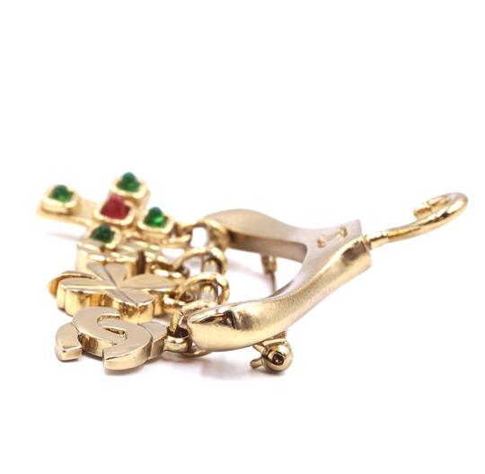 Chanel Ultra Rare CC Hanger charms gripoix gold brooch Image 5
