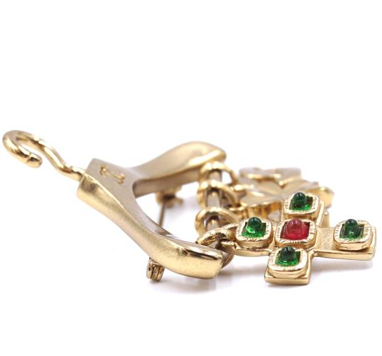 Chanel Ultra Rare CC Hanger charms gripoix gold brooch Image 6