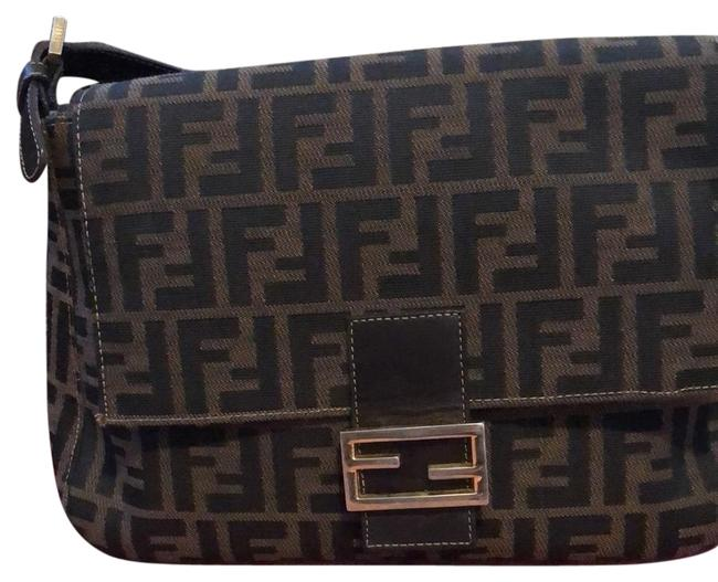 Item - Mamma Purses/ Large F Logo Print Canvas In Shades Of Brown & Black Leather Hobo Bag