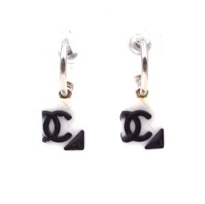Chanel RARE CC quilted Cambon dangle pierced stud earrings