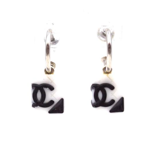 Preload https://img-static.tradesy.com/item/25779128/chanel-31525-white-black-silver-cambon-rare-cc-quilted-dangle-pierced-stud-earrings-0-0-540-540.jpg