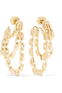 JENNIFER FISHER Jennifer Fisher Adwoa Gold Plated Chain Link Triple Hoop Drop Earrings