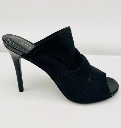 Charles D High Heels Stretchy Peep Toe Sexy Stiletto Black Mules Image 1