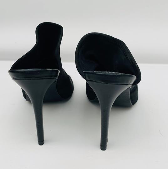 Charles D High Heels Stretchy Peep Toe Sexy Stiletto Black Mules Image 3