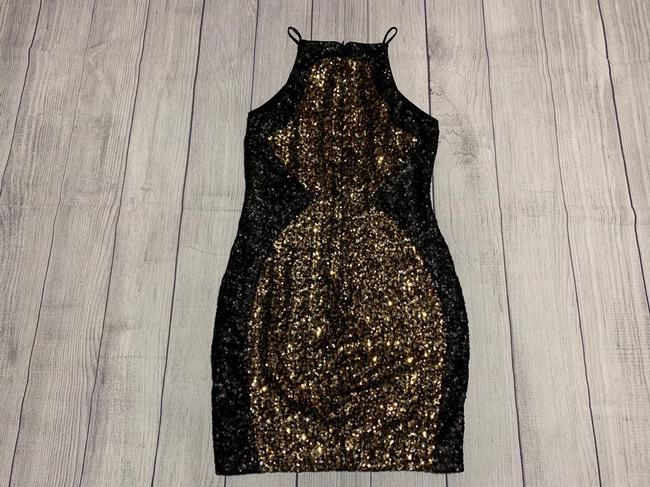 Dress the Population Sequin Party Holiday Gold Dress Image 6