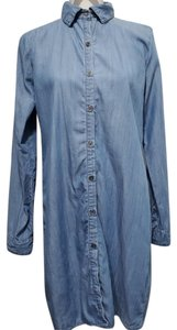 Bobeau short dress Blue Chambray Button Down Lace Up on Tradesy