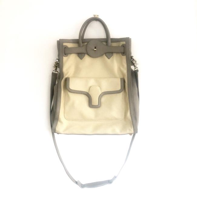 Item - Two Way Tote Cream and Grey Canvas Cross Body Bag