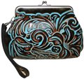 Patricia Nash Designs Savena Leather Tooled Wristlet in Turquoise Image 0