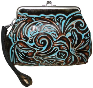 Patricia Nash Designs Savena Leather Tooled Wristlet in Turquoise