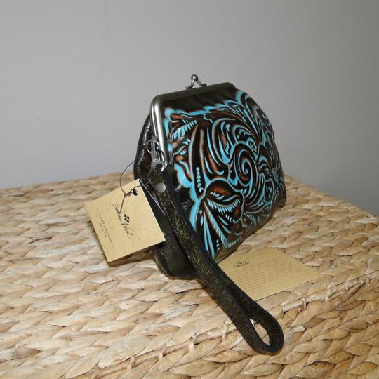Patricia Nash Designs Savena Leather Tooled Wristlet in Turquoise Image 1