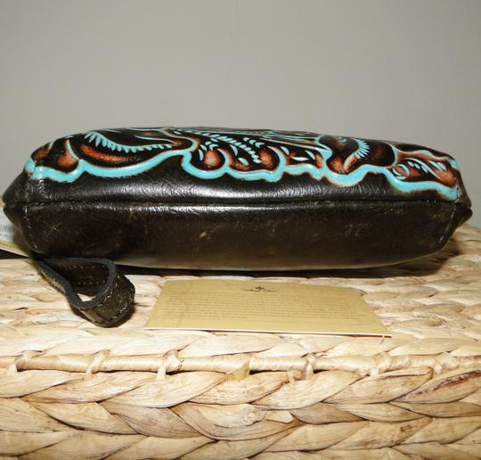 Patricia Nash Designs Savena Leather Tooled Wristlet in Turquoise Image 3